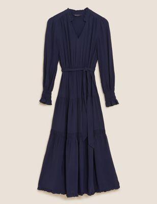 V-Neck Tie Front Midi Tiered Dress