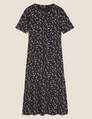Jersey Heart Print Midi Tiered Dress
