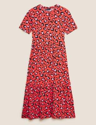 Jersey Animal Print Midi Tiered Dress