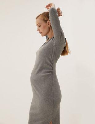 Maternity Cotton V-Neck Midi Column Dress