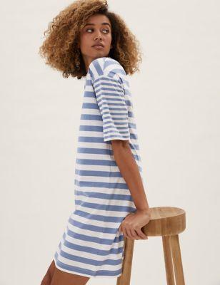 Jersey Striped Mini T-Shirt Dress
