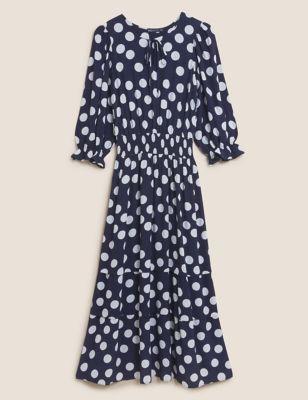 Polka Dot Tie Neck Midi Waisted Dress