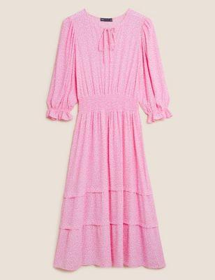 Printed Tie Neck Waisted Midi Dress