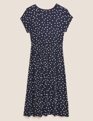 Jersey Polka Dot Midi Waisted Dress