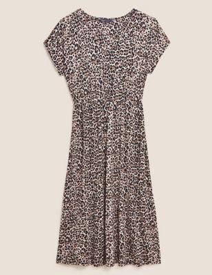 Jersey Animal Print Midi Waisted Dress
