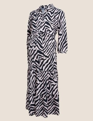 Maternity Animal Print Midi Shirt Dress