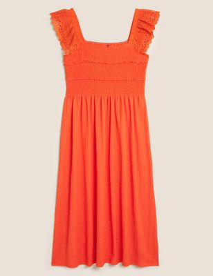Broderie Shirred Midi Waisted Dress