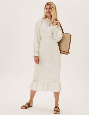 Pure Cotton Textured Lace Insert Midi Dress