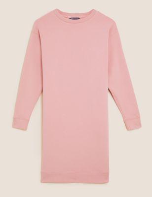Cotton Round Neck Knee Length Sweater Dress