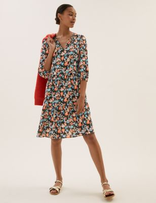 Floral Tie Neck Knee Length Tiered Dress