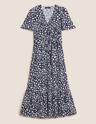 Printed Angel Sleeve Midi Wrap Dress