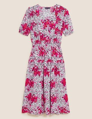 Floral Frill Detail Midi Waisted Dress