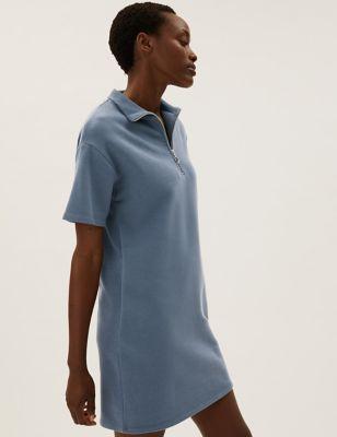 Cotton High Neck Zip Up Mini Sweater Dress