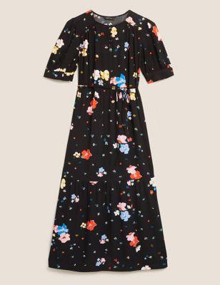 Floral Tie Detail Midaxi Tiered Dress