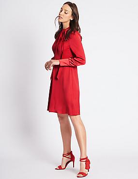 Tie Neck Long Sleeve Swing Dress, RED, catlanding