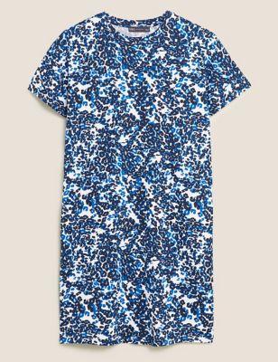 Pure Cotton Animal Print Mini T-Shirt Dress