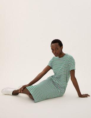Pure Cotton Striped Midi T-Shirt Dress