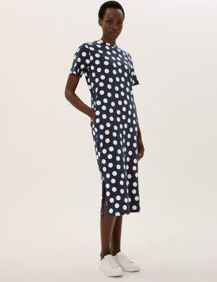 Pure Cotton Polka Dot Midi T-Shirt Dress