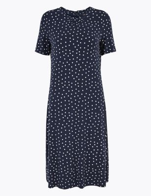 Jersey Polka Dot Knee Length Swing Dress