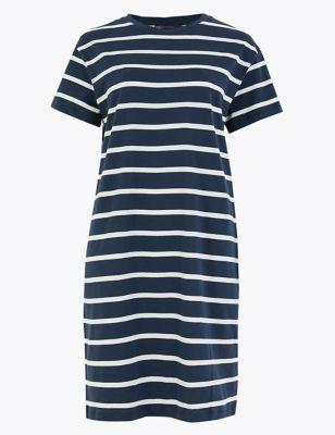 Pure Cotton Striped Mini T-Shirt Dress