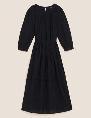 Pure Cotton Lace Trim Waisted Dress