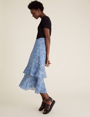 Star Print Ruffle Midi Tiered Skirt