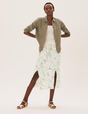 Printed Midi Straight Skirt