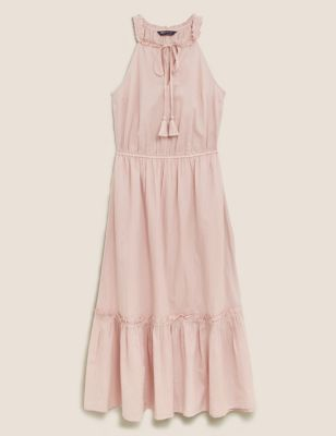 Pure Cotton Tie Neck Midaxi Waisted Dress