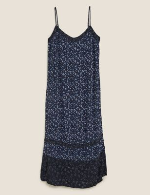 Printed V-Neck Midi Slip Dress