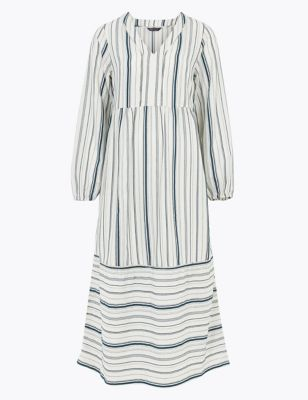 Cotton Striped V-Neck Midaxi Tiered Dress