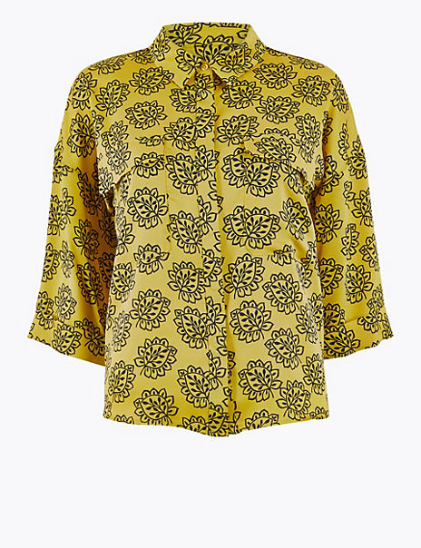 Printed Satin Oversized Shirt