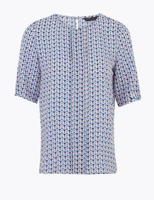 PETITE Geometric Short Sleeve Blouse