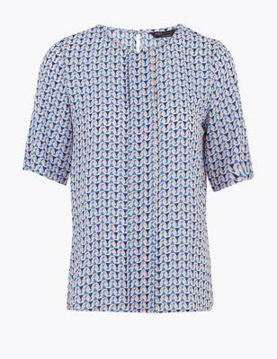 Geometric Short Sleeve Blouse