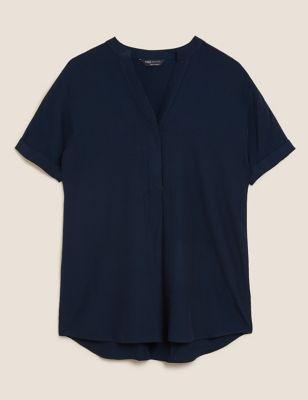 V-Neck Longline Short Sleeve Tunic