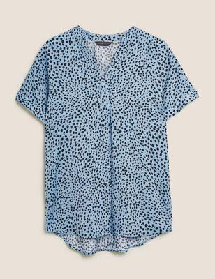 Printed V-Neck Longline Short Sleeve Tunic