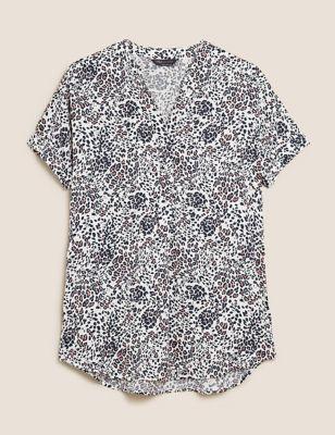 Animal Print V-Neck Short Sleeve Tunic