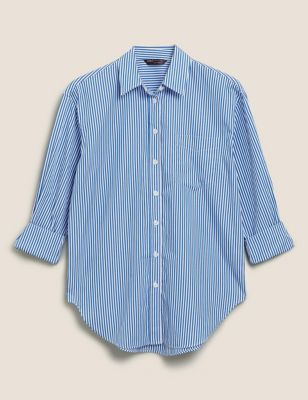 Pure Cotton Striped Oversized Shirt