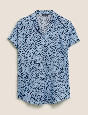 Printed Collared Short Sleeve Tunic