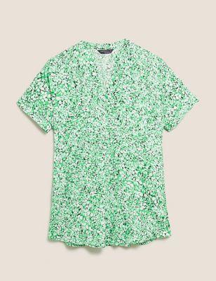 Printed V-Neck Short Sleeve Tunic