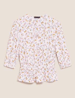 Floral V Neck Short Sleeve Peplum Top