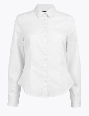 PETITE Cotton Fitted Long Sleeve Shirt