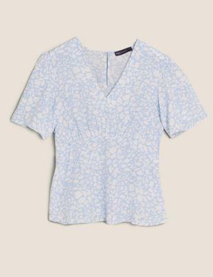 Animal Print V-Neck Angel Sleeve Top
