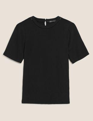 Round Neck Lace Insert Short Sleeve T-Shirt