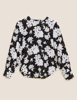 Floral Round Neck Long Sleeve Blouse