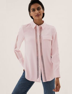 Lace Insert Collared Long Sleeve Shirt