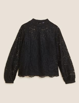 Lace High Neck Long Sleeve Top