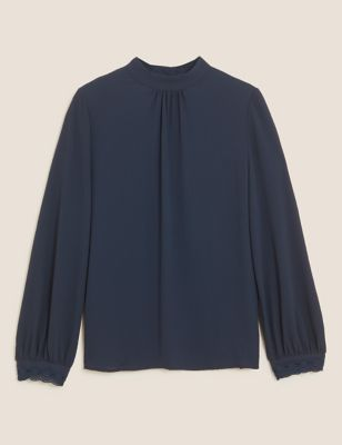 Embroidered High Neck Long Sleeve Top