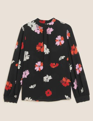 Floral Embroidered High Neck Top