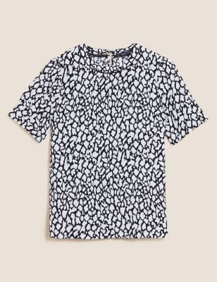 Animal Print Round Neck Short Sleeve Top
