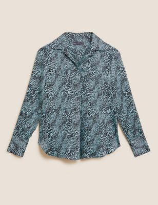 Printed Collared Popover Blouse